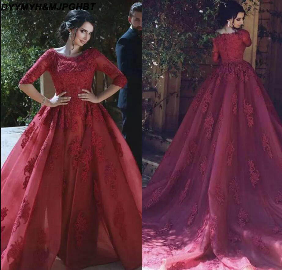 Prom Dress With Detachable Train: Fashion Burgundy Evening Dresses Half Sleeve Lace