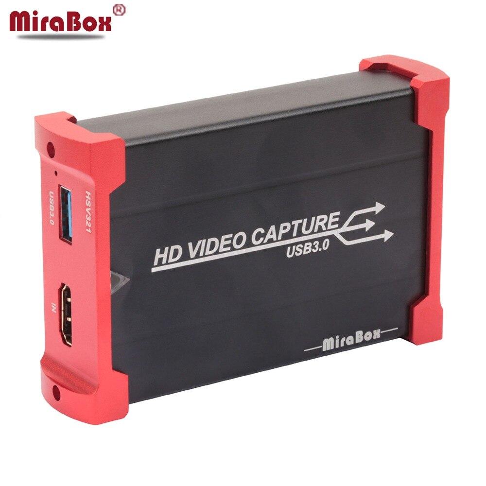 MiraBox HDMI captura tarjeta USB3.0 con Loop-out soporte 1080 p baja latencia Windows 10 Linux YouTube OBS twitch para ps4 corriente
