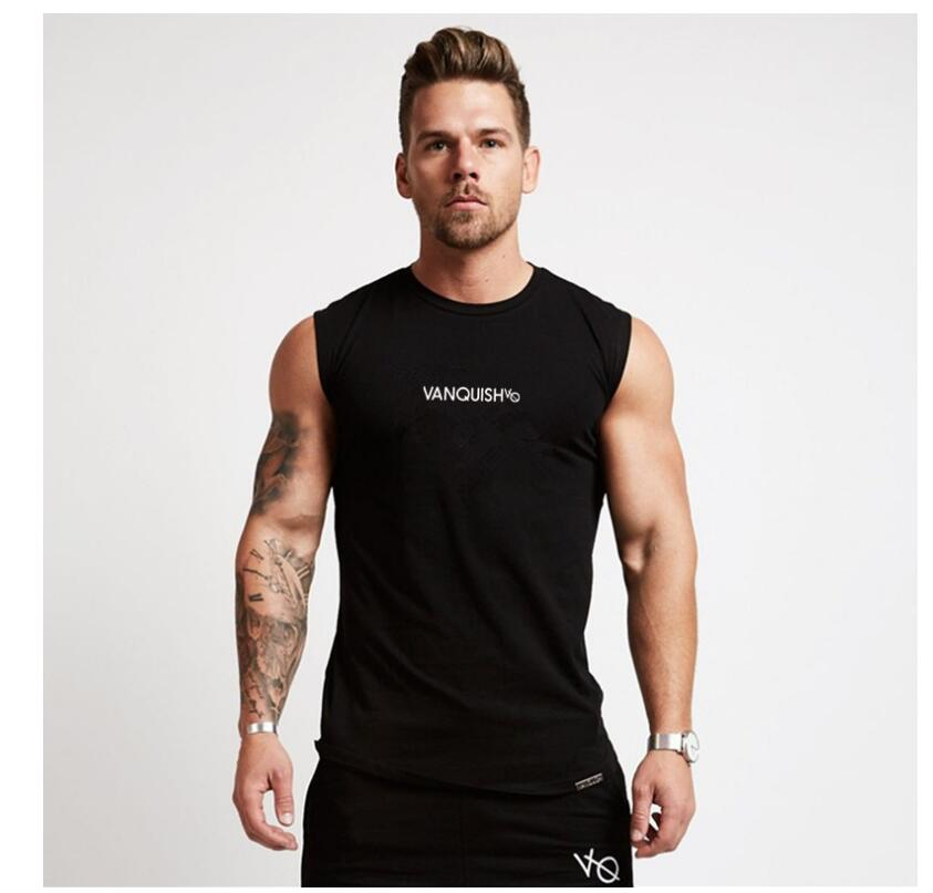 New Gyms Clothing   Tank     Top   VANQUISH Men Fitness Singlet Sleeveless Shirt Cotton Muscle Guys Bodybuilding Undershirt Sportwear