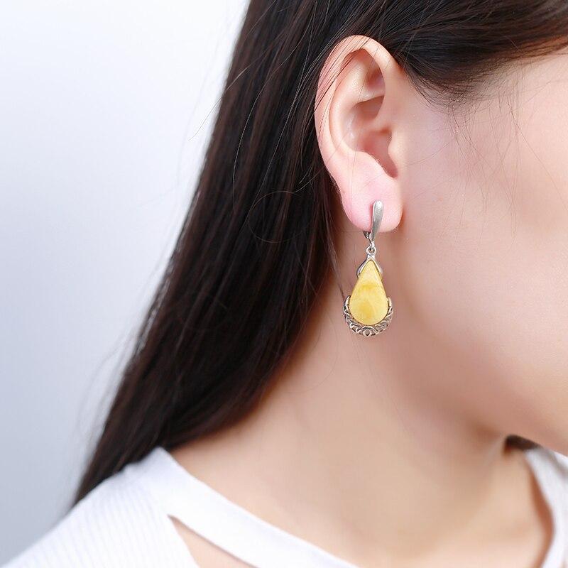 все цены на JIUDUO Bohemia Silver Earrings Yellow Amber Water Drop Long 925 Silver Earrings Water Drop Earrings for Women Wedding Fine Jewel