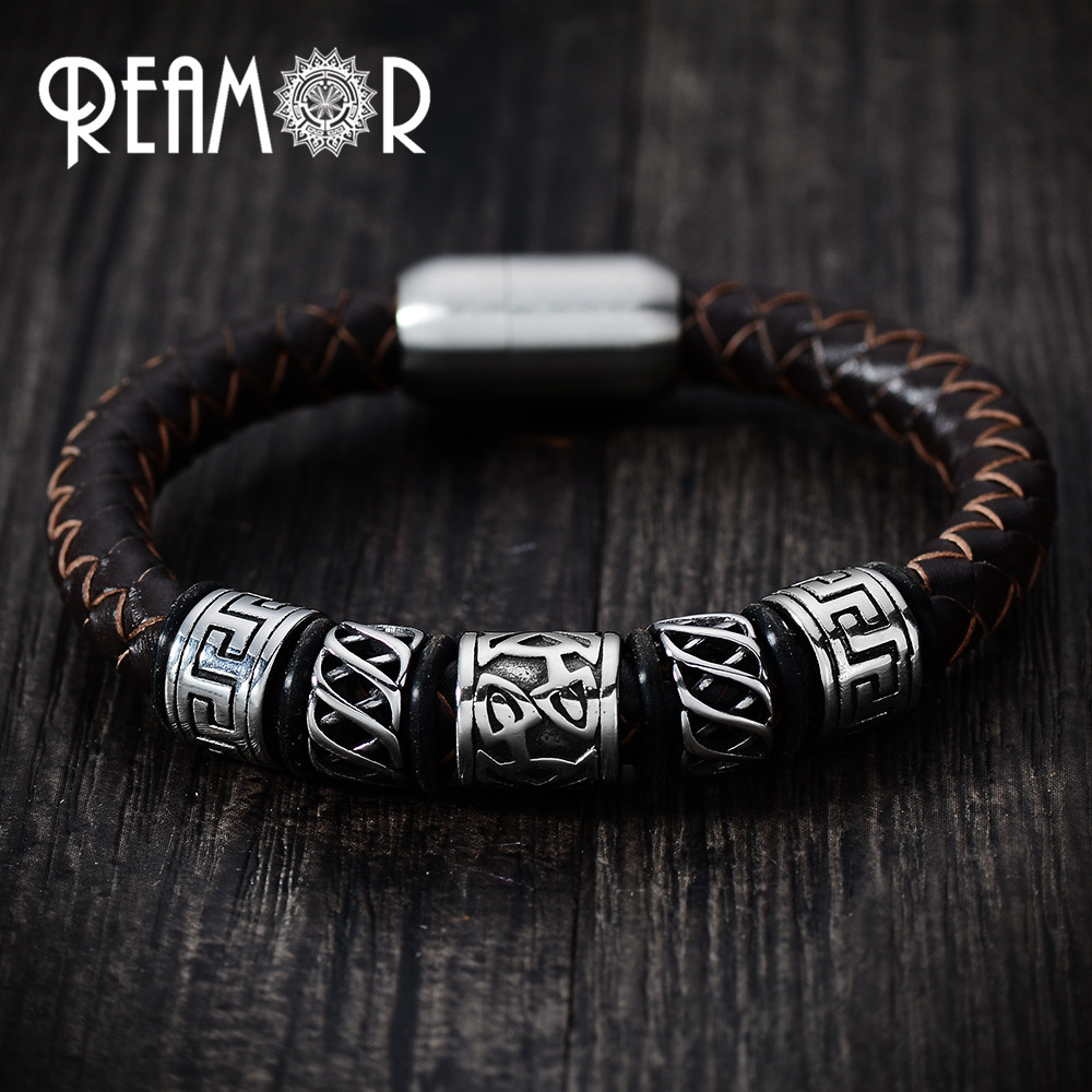 REAMOR Trendy Men Black Leather Bracelet 316l Stainless steel Viking Bead Bracelets with Strong Magnet Clasp