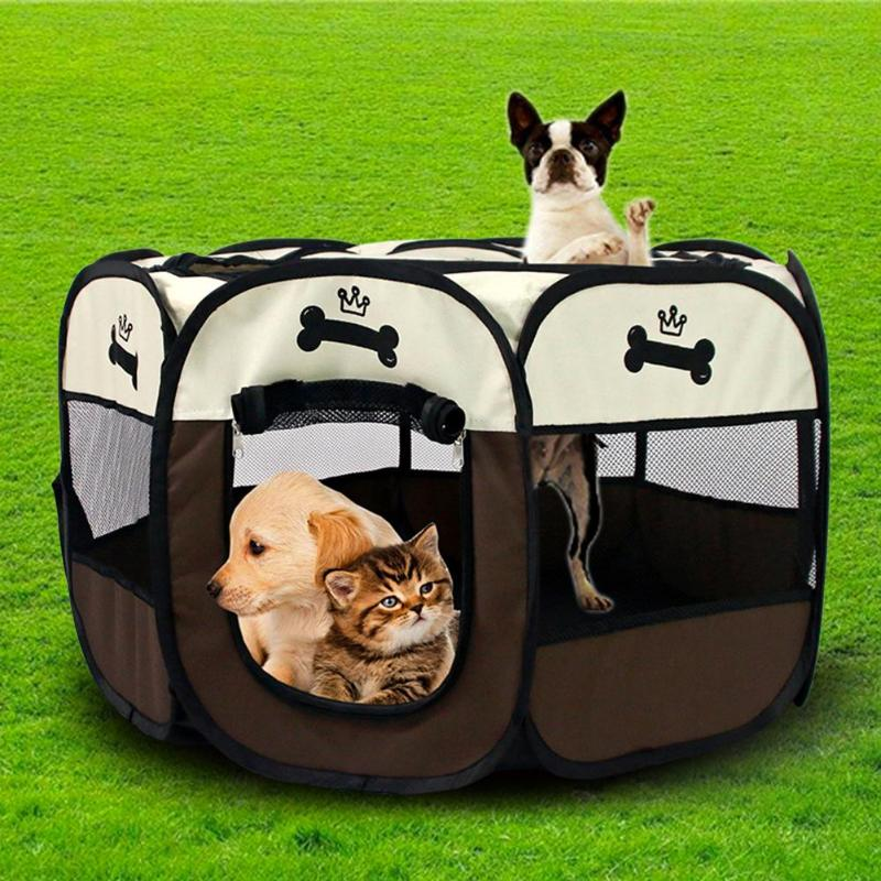 Cute Pet Dog Tent Toy Folding Octagonal Fence Puppy Cat House Kids Ocean Balls Pool Pit Tent Child Outdoor Fun Sports Playhouse