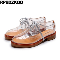Designer Shoes Women Luxury 2017 Transparent White Oxfords Brogue Lace Up Round Toe Platform Flats Ladies