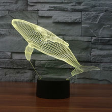 Color changing Flashing touch sensor control Whale Arcylic 3D USB LED table Lamp Cetacean Night Light