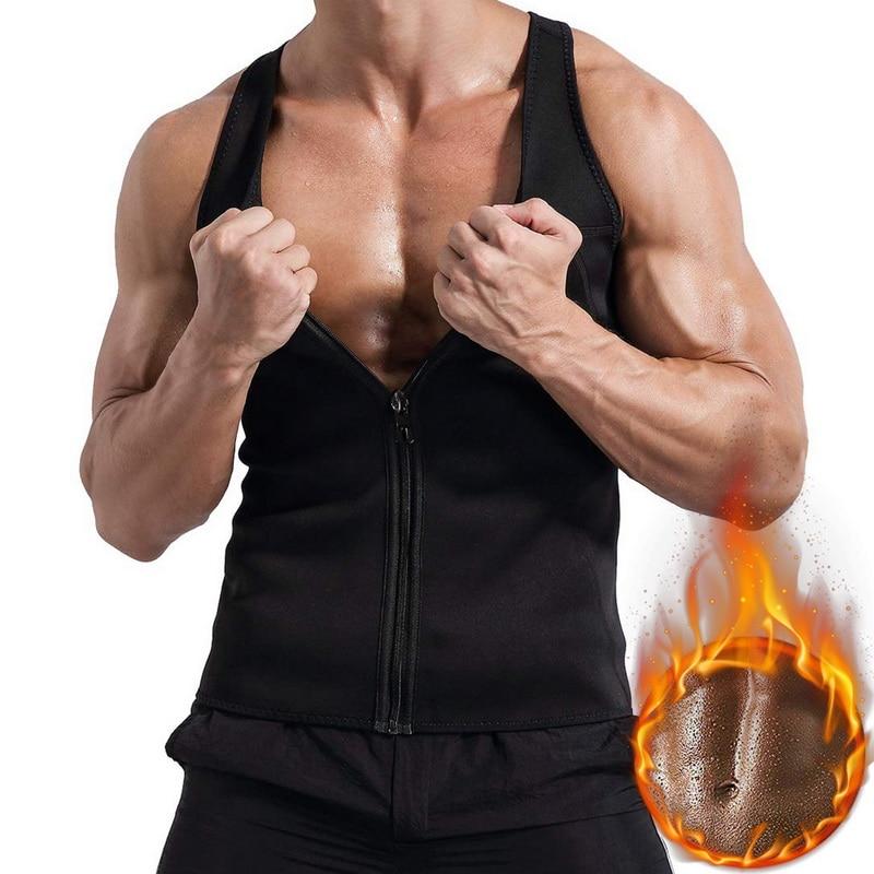 Unterwäsche & Schlafanzug Former Shujin Fashion Solid Fitness Körper Shaper Sweat Shirt Casual Zipper Bodybuilding Ärmellose Herren Abnehmen Weste Body Top