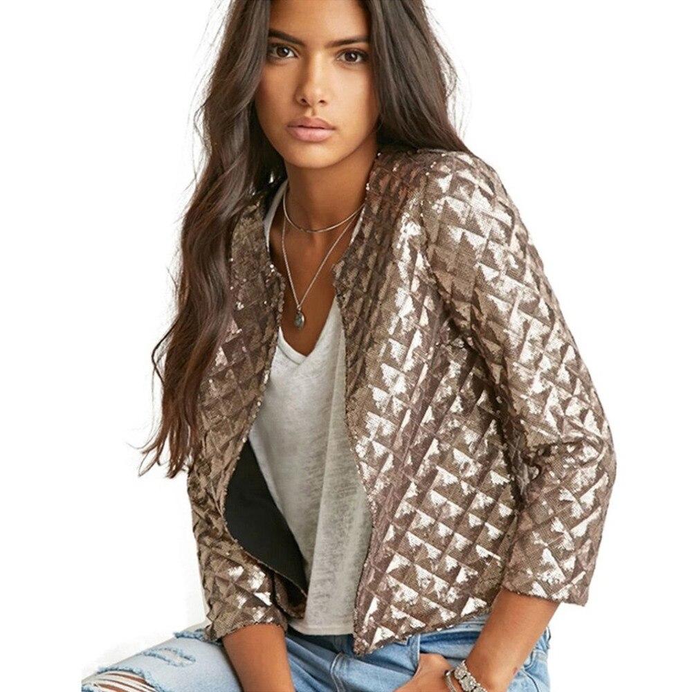 señora Vogue Mujeres de manga Lozenge oro chaqueta Sequined larga qYwF6v