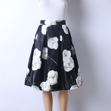 2016 Autumn New Women Fashion Satin Fabric White Flower Printed Middle Knee-Length Skirts Ladies Ball Gown Pettiskirt