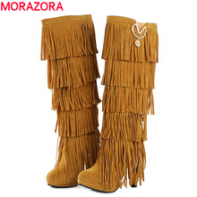 2016 new fashion high heels platform tassel women's knee high boots sexy yellow beige red black winter women motorcycle boots