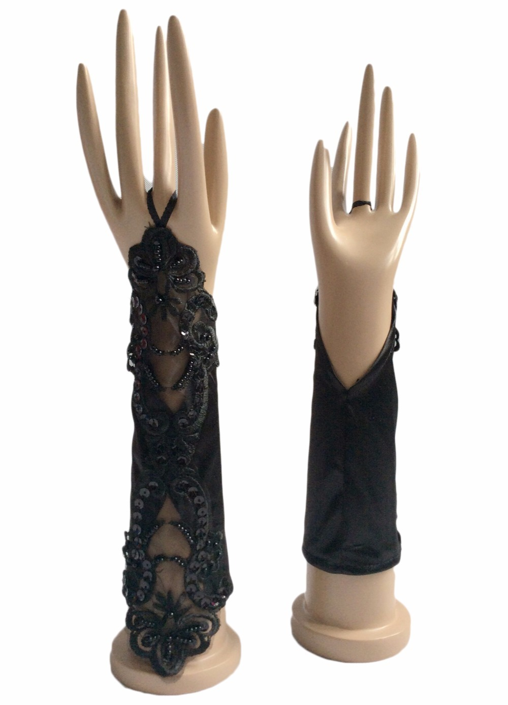 Fingerless Black White Ivory Bridal Gloves For Wedding Bride Cheap Lace Applique Accessories Guantes De Novia