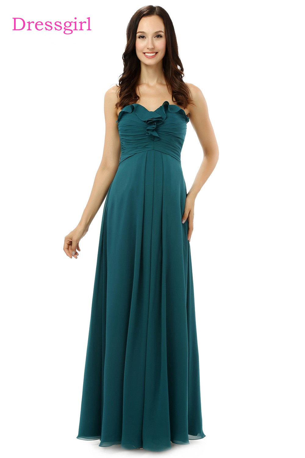 New 2018 Cheap Bridesmaid Dresses Under 50 A-line Sweetheart Floor Length Dark Green Chiffon Wedding Party Dresses