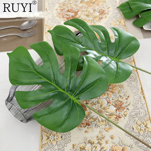 Acheter 3 pcs lot grande feuille real for Plante artificielle balcon