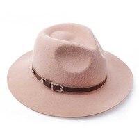 100% Wool Wide Brim Floppy Felt Trilby Belt Fedora jazz Hat For Elegant Women Ladies Winter Autumn Cashmere Gangster Church Hat