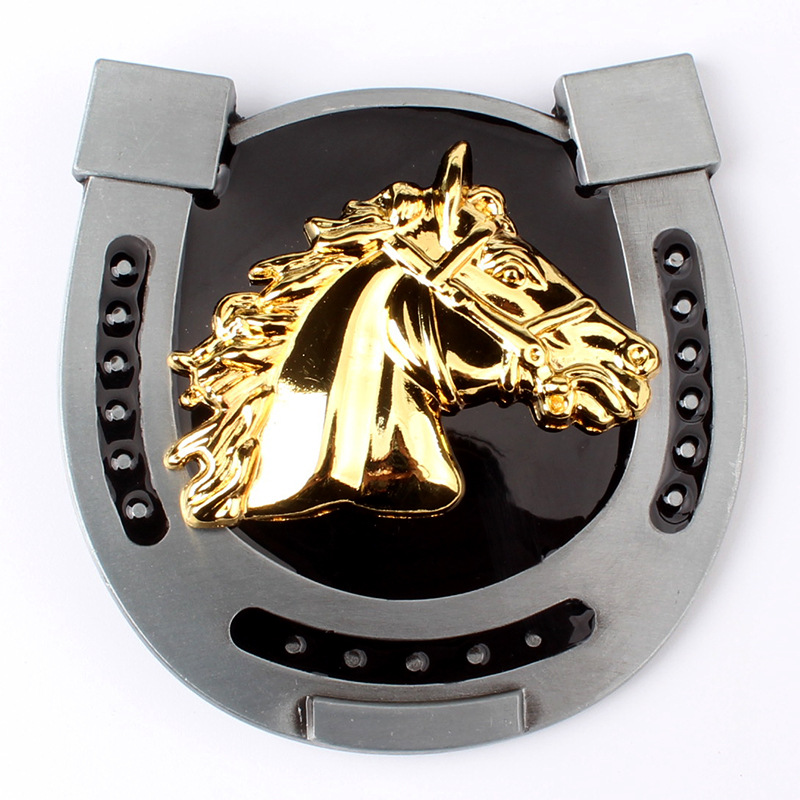 Western Style Horse Head Belt Buckle Golden Horse Head Equestrian Belt For Smooth Buckle