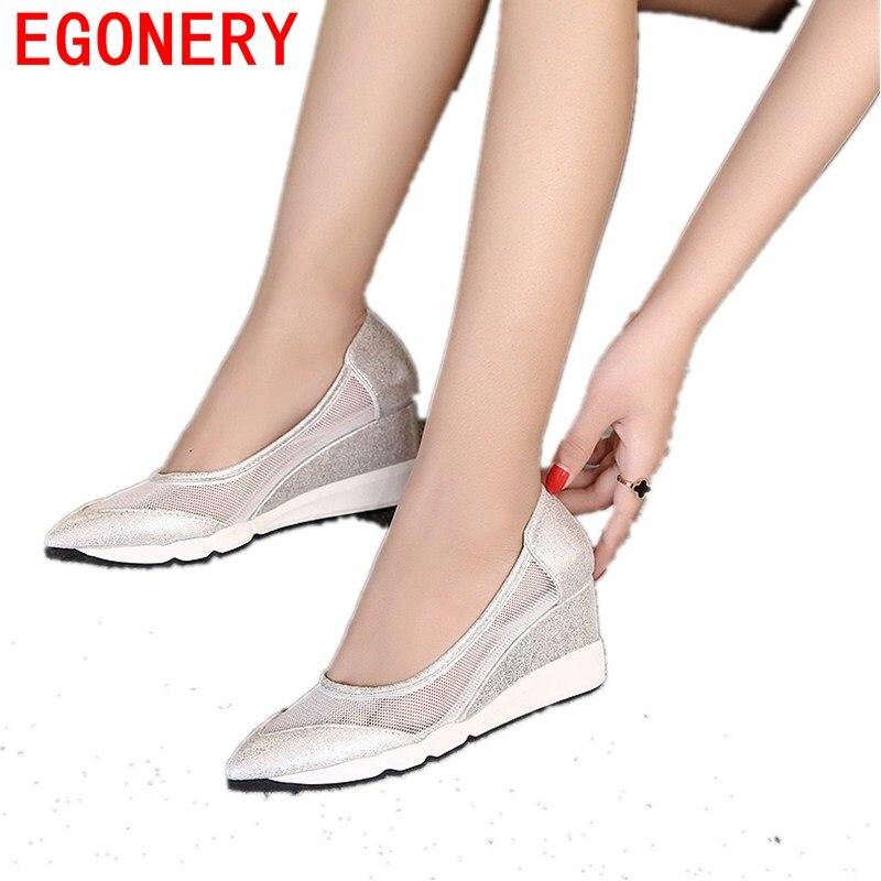 EGONERY sandalias del dedo del pie puntiagudo bombas de 2017 mujeres de moda cóm