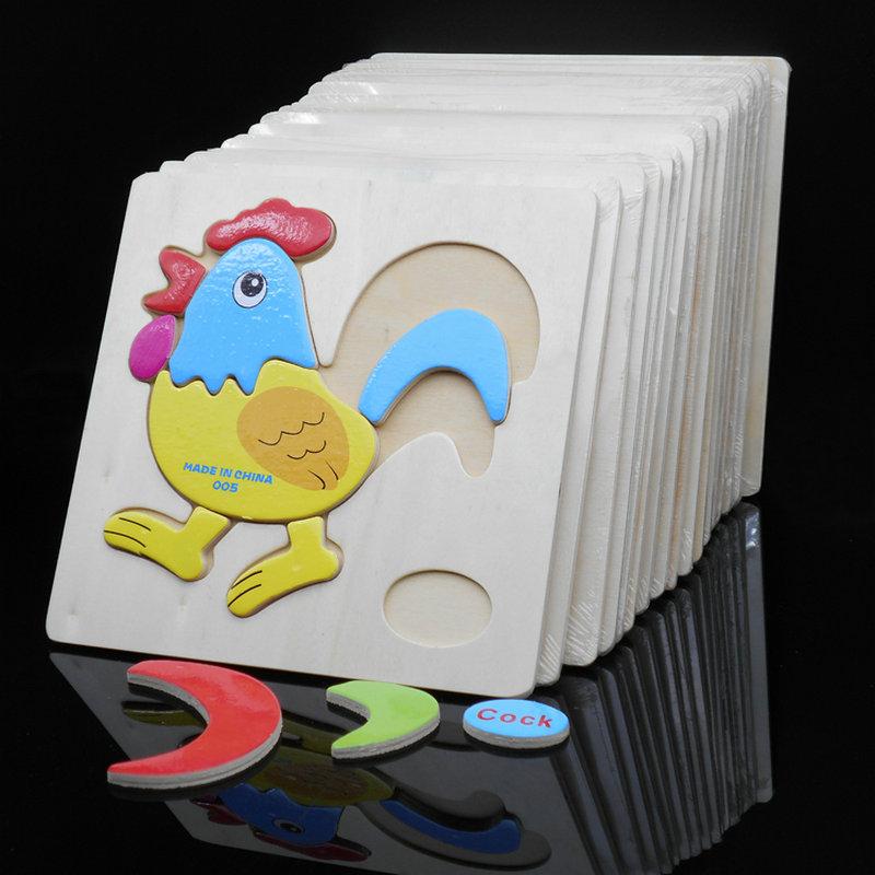 Бесплатная доставка Детские классические деревянные мультфильм животных 3D Пазлы 4 шт., детские деревянные развивающие Животные головоломк...
