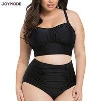 JOYMODE Plus Size Swimwear Mulheres Gordas Sexy Peito Grande Maiô terno Preto Set Bikini Tamanho Grande Maiô Ruched Cintura Alta mulheres