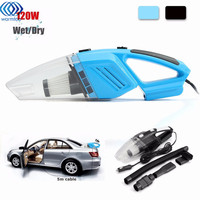 12V 120W Mini Hand Held Wet Dry Bagless Car Auto Vacuum Cleaner Multifunction Powerful Suction Rechargeable