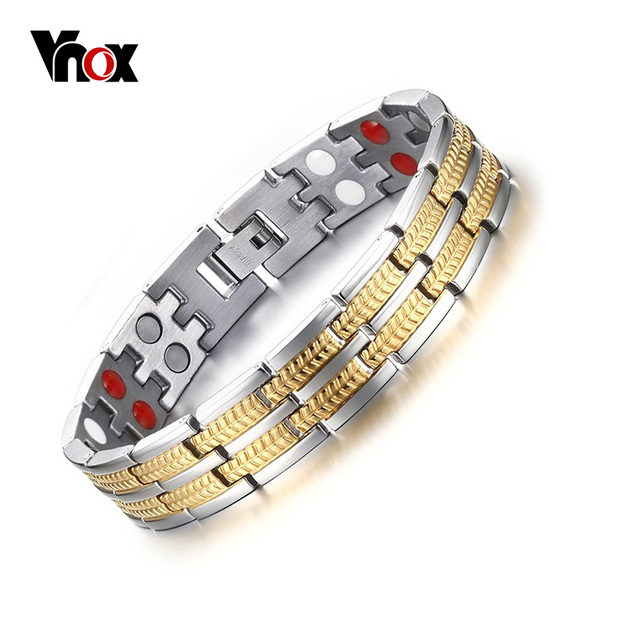 Vnox Healthy Care Magnet Bracelet for Men Jewelry With Negative ions Germanium Infrared