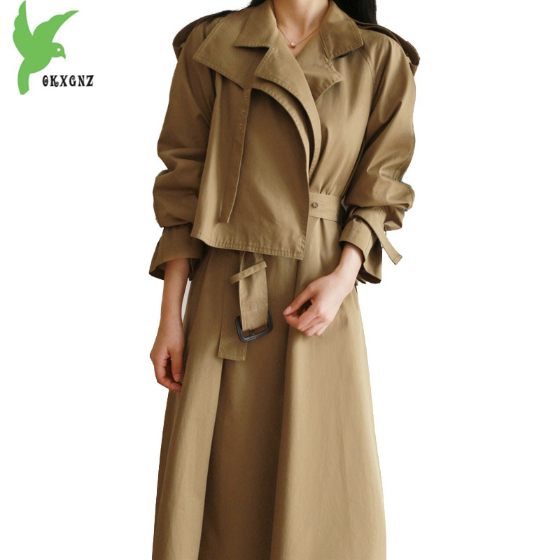 Fashion Lengthen   trench   coat women 2018 spring autumn Crop cotton Windbreaker Belt slim female Khaki A-line   trench   coat 2188
