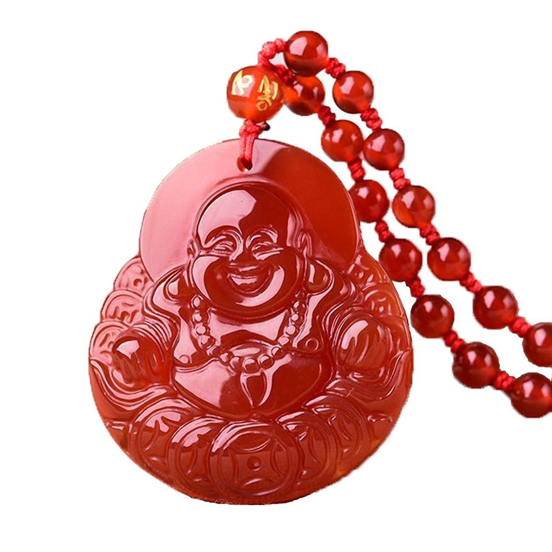 Koraba Fine Jewelry чистый натуральный красный агат деньги Майли Будда Майтрея Безопасный и богатый амулет кулон Цепочки и ожерелья Бесплатная дост...