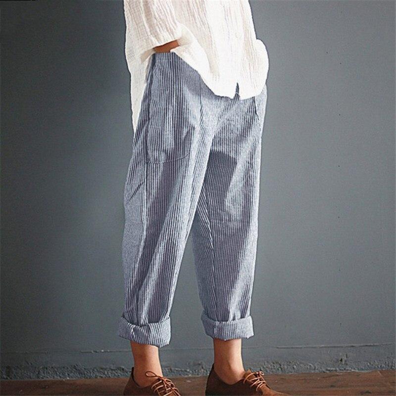 YRRETY Summer New Woman Linen Striped Harem Pants Fashion Women Cotton Loose Striped Full Pants Female 2018 Casual Pants S-5XL 3