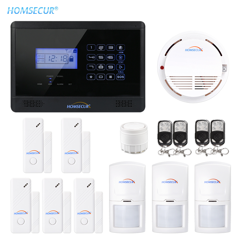 HOMSECUR <font><b>Wireless</b></font>&Wired GSM Home Security <font><b>Burglar</b></font> <font><b>Alarm</b></font> <font><b>System</b></font> With SOS Intercom image