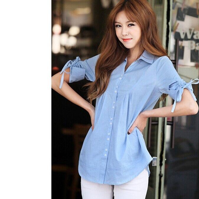 aa7d9761d3b 2015 лето мода женщин рубашки хлопка три четверти Mid рубашка дамы большой  двор широкий отверстия поло образным вырезом женские рубашки купить на  AliExpress