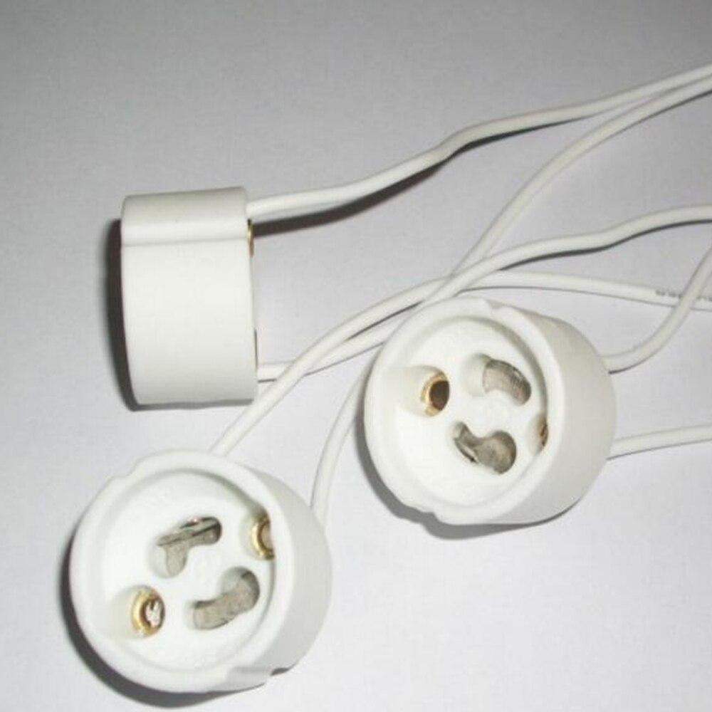 High Quality Ceramic GU10 Socket Lamp Holder LED light MR16 GU10 Base 15CM SR wire connector LED CFL Halogen Adapter CE ROHS