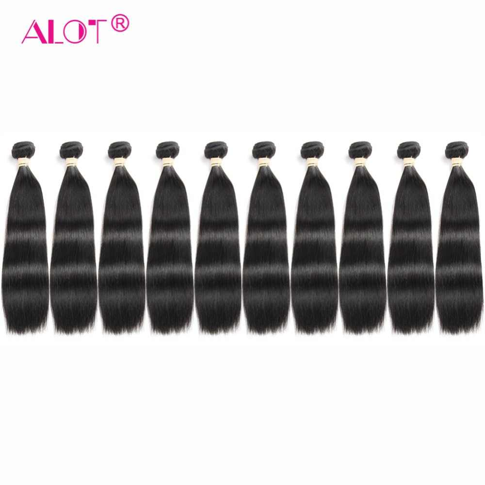 Alot Non Remy Peruvian Straight Human Hair Bundles 10 Pcs/Lot Machine Double Weft Can Be Dyed Hair Weaving Can Be Made To Wig