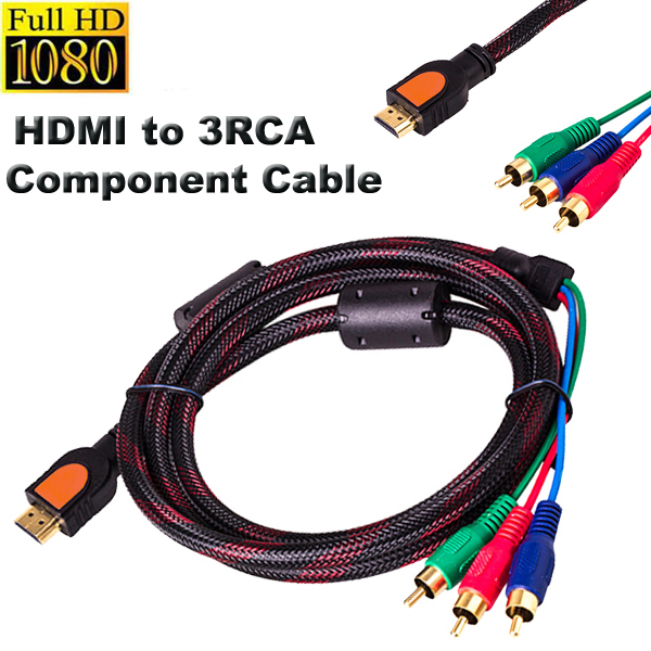 hdmi male to 3 rca rgb video audio av component cable for dvd hdvd hdtv lcd etc 3 meter in. Black Bedroom Furniture Sets. Home Design Ideas