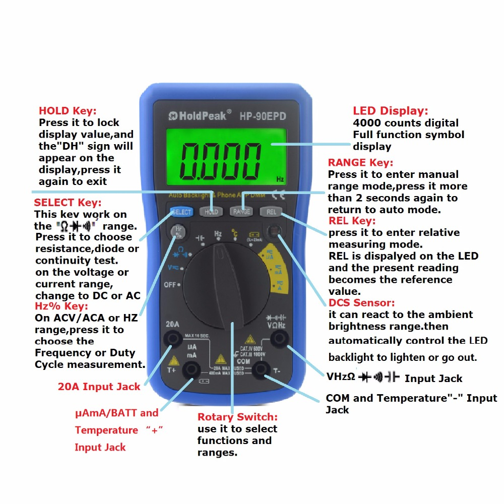 Holdpeak hp 90epd mobile phone app auto range multimeter digital holdpeak hp 90epd mobile phone app auto range multimeter digital ac dc voltage 4000 counts resistance frequency auto back light in multimeters from tools on biocorpaavc