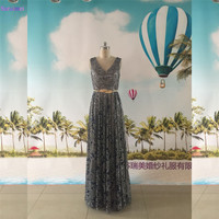 Dark Gray Sequin Lace Eveing Dresses V Neck Spaghetti Straps With Golden Belt Sash Shining Formal Evening Gown Women