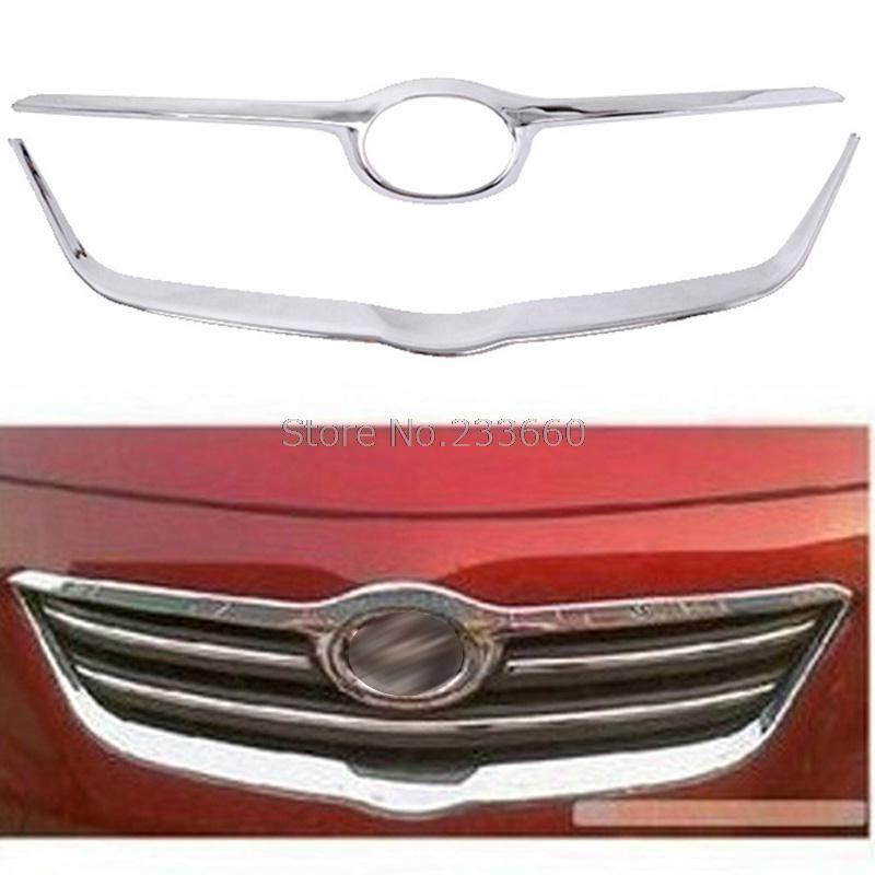 Fit For Toyota Corolla 2007-2010 Front Grille Trim ABS Chrome Plastic Racing Grills Around Logo Accessories 2pcs/set abs chrome front grille around trim racing grills trim 7pcs for 2015 highlander