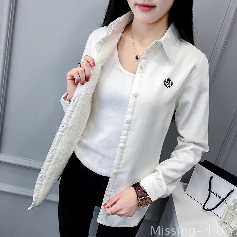 2018 Autumn Winter Women's Long Sleeved Fleece Shirt Casual Slim Solid Color Embroidered Blouse Female Cotton Shirts Warm