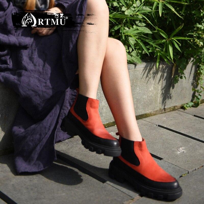 Artmu/оригинальные зимние Для женщин сапоги новые теплые ботильоны Нейтральный Nake из натуральной кожи хлопковые сапоги Плюшевые 19906