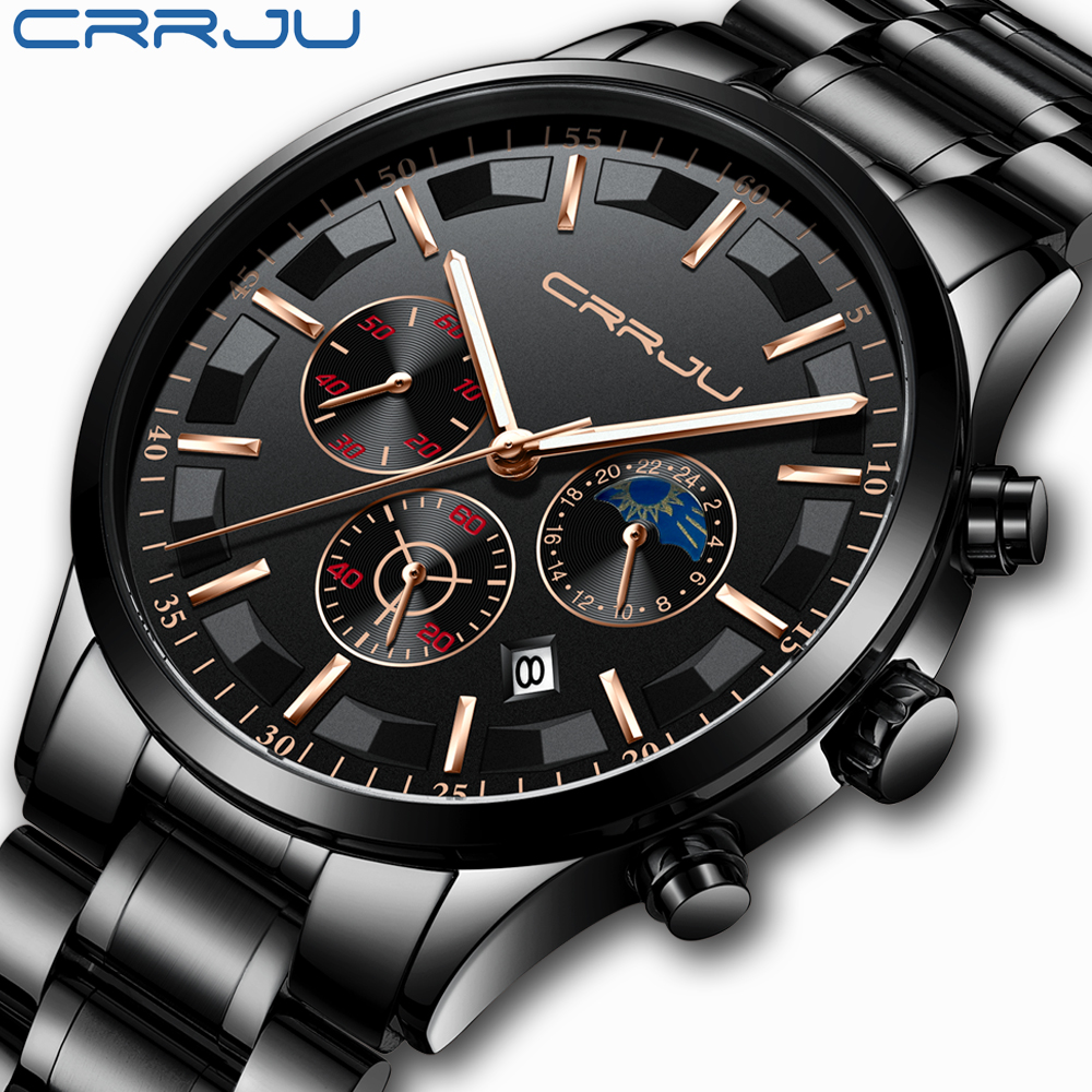 CRRJU Men Stainless Steel Quartz Watch Waterproof Watch Multi-function Chronograph Date Display Wristwatch Black Relogio