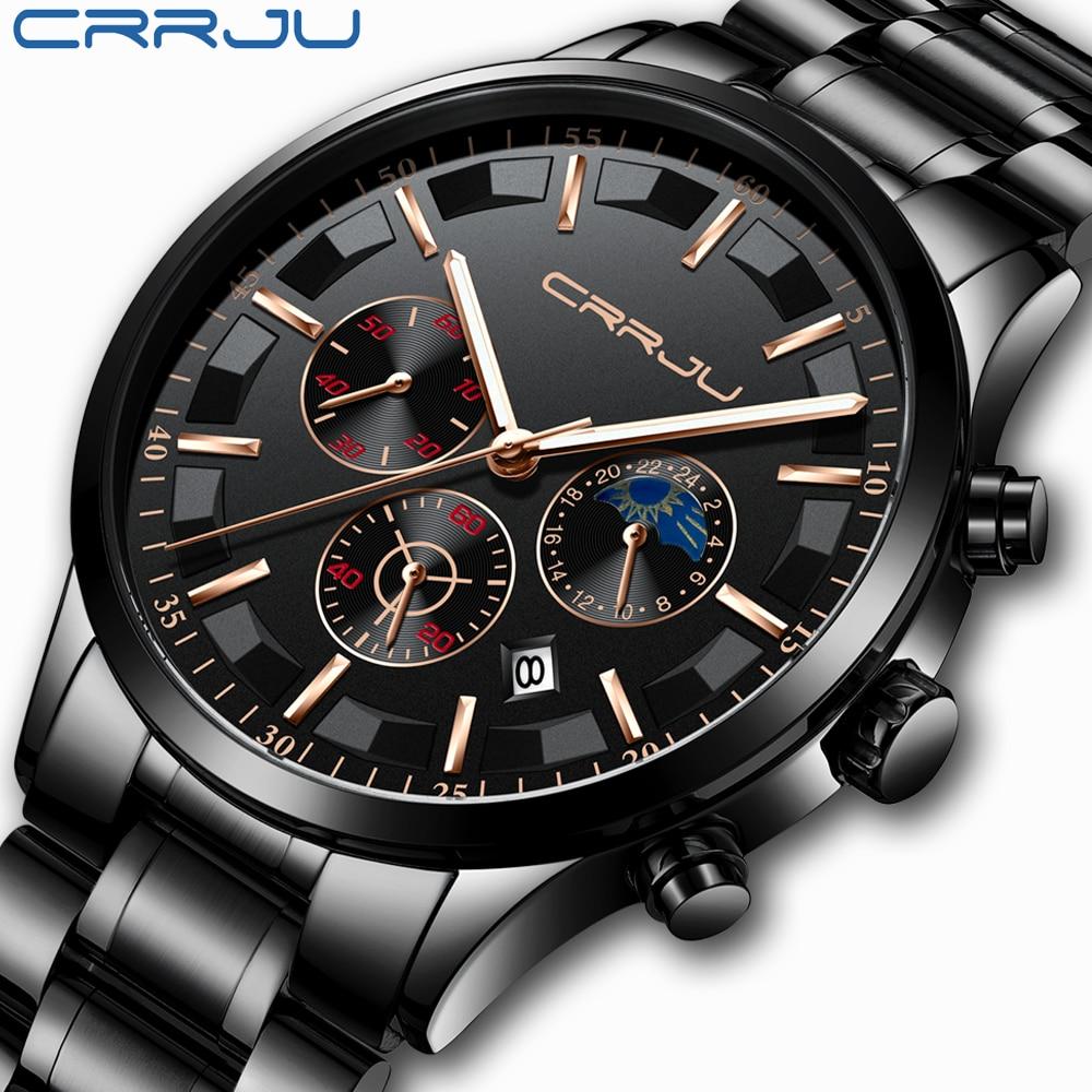 CRJU Homens Relógio de Quartzo de Aço Inoxidável Relógio À Prova D' Água Multi-função Cronógrafo Data de Exibição do Relógio de Pulso Preto Relogio