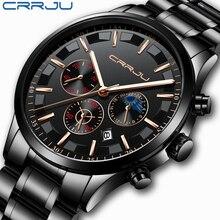 Crrju men aço inoxidável relógio de quartzo relógio à prova dmulti água multi função cronógrafo data display relógio de pulso preto relogio