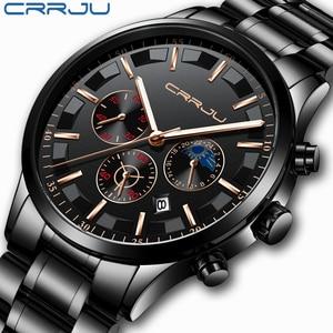 Image 1 - Crrju男性ステンレス鋼クォーツ防水時計多機能クロノグラフ日付表示腕時計黒レロジオ
