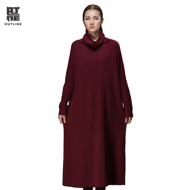 0a7b8253885f Outline Brand Women Winter Knitted Dress with Long Sleeve Loose Turtleneck  Sweater in Grey Plus Size