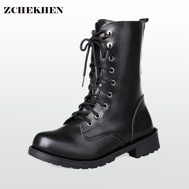2017 New black leather Martin boots Ankle boots women shoes flat round toe motorcycle boots military combat boots #37
