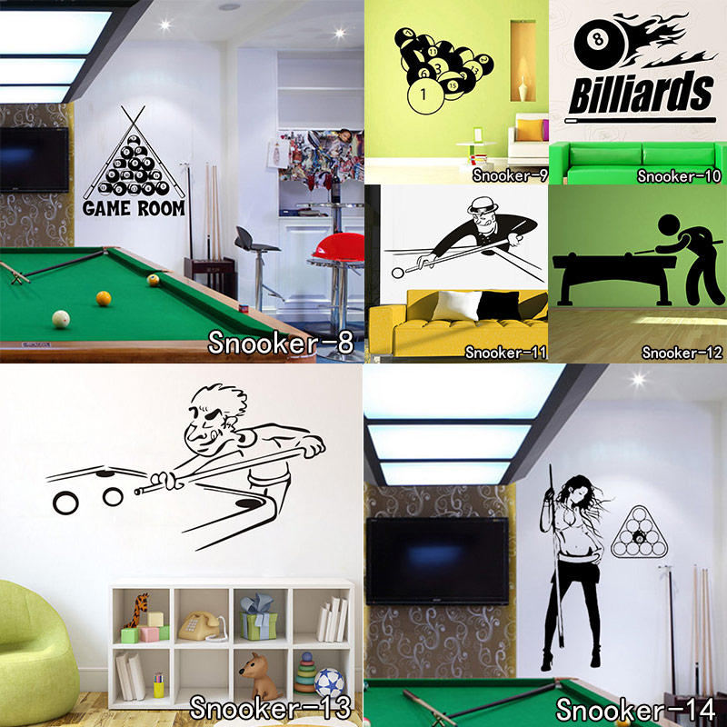 Cartoon Design Playing Pool Snooker Wall Stickers Vinyl Removable Self Adhesive Home Decor Wall Decal For Living Room removable go big or go home proverb room office wall stickers