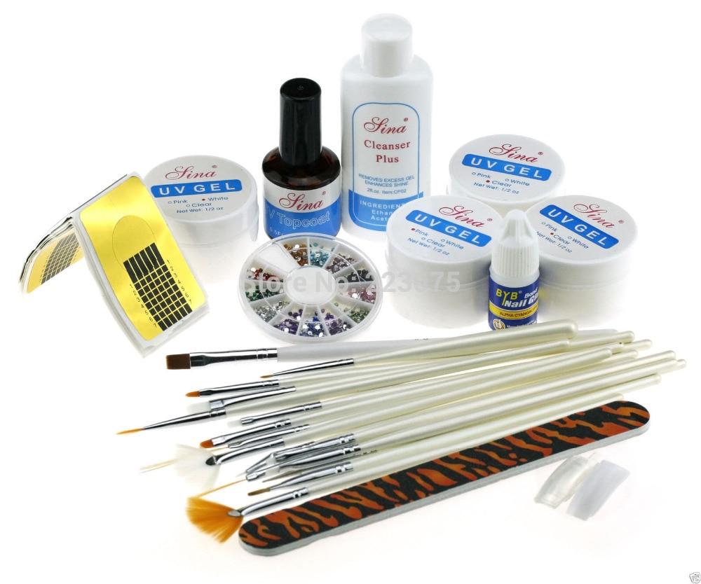 hot uv gel starter kit 15pcs nail tips painting brushes in. Black Bedroom Furniture Sets. Home Design Ideas