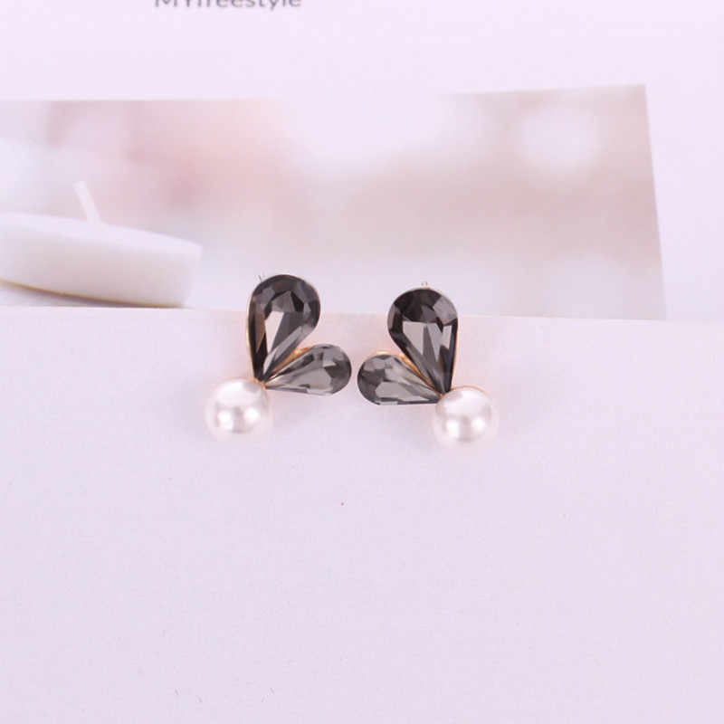 2018 new fashion simple wild personality imitation pearl red gray earrings jewelry wholesale
