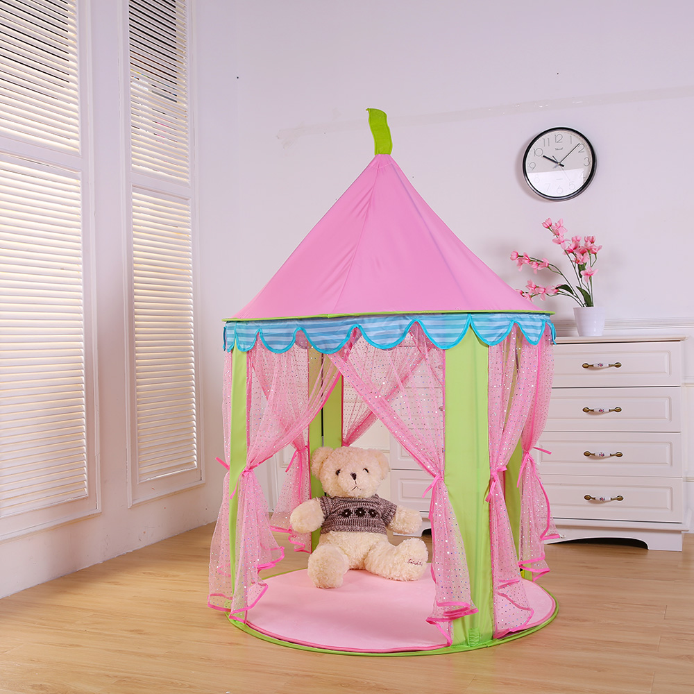 Princess Castle Tent Kid Portable Teepee PlayTent Children Toy Game House Indoor Baby Folding Playpen Marquee Gift game room south korea six large angle princess castle tulle children toy house large game room selling mosquito tent puzzle tent toy