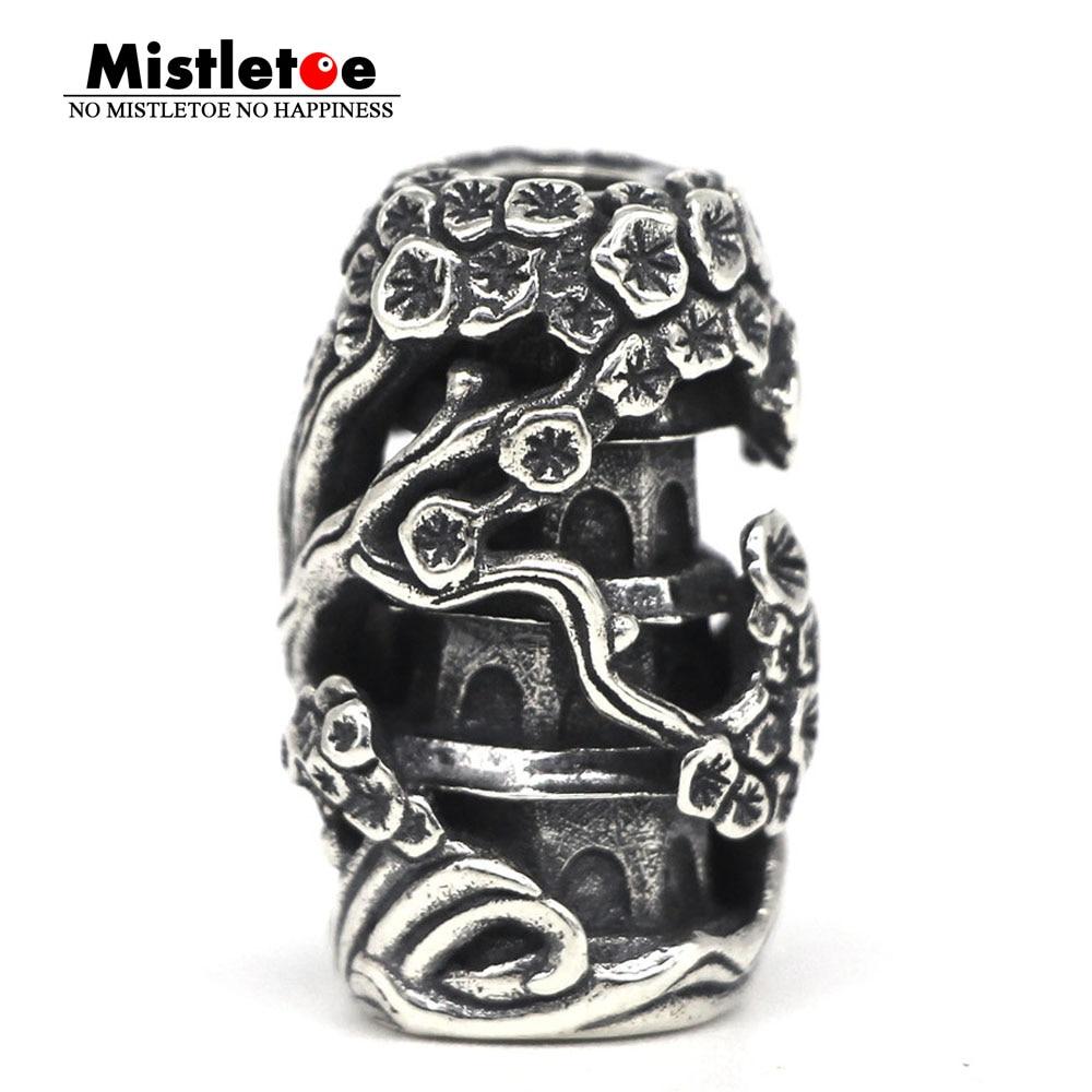 Mistletoe 925 Sterling Silver Earth Element Spring tower Pendant Charm Bead European Jewelry
