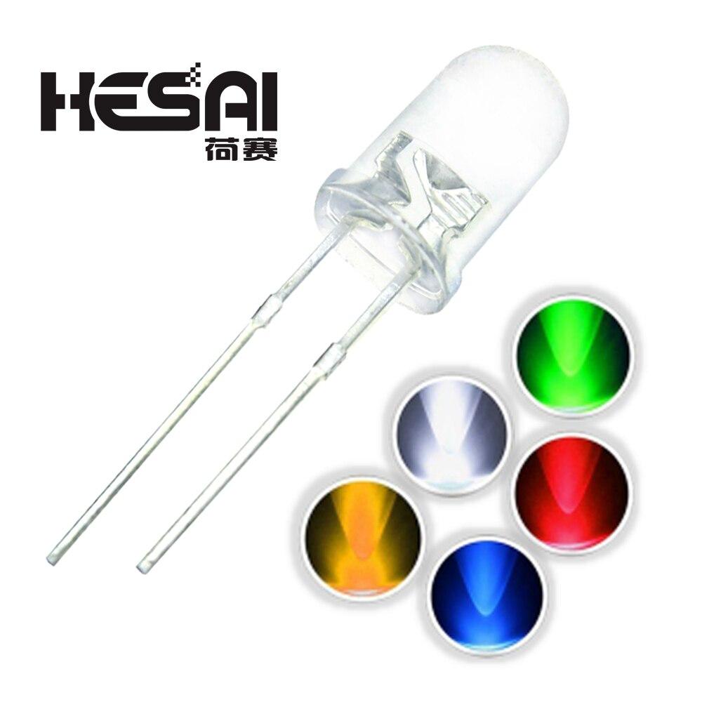 100 pçs/lote f5 5 cores ultra brilhante, água redonda transparente verde/amarelo/azul/branco/vermelho led lâmpada emissor diodo diodo diodo diodo