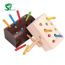 Montessori Educatief Houten Speelgoed voor Kinderen vangen wormspel Leuk magnetisch Oefen baby Hand-oog coördinatie Kinderspeelgoed
