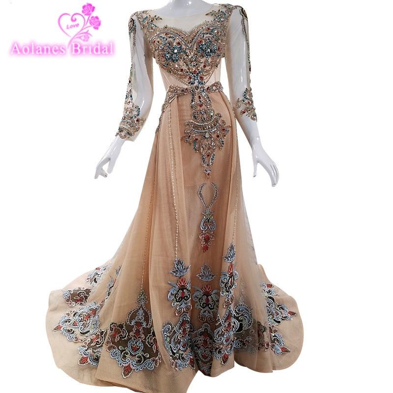 Haut de gamme De Luxe Colorde Diamant Sexy Robes De Soirée 2018 Manches Longues Mode Plage de Soirée Gwons Robe De Soirée Turque robe