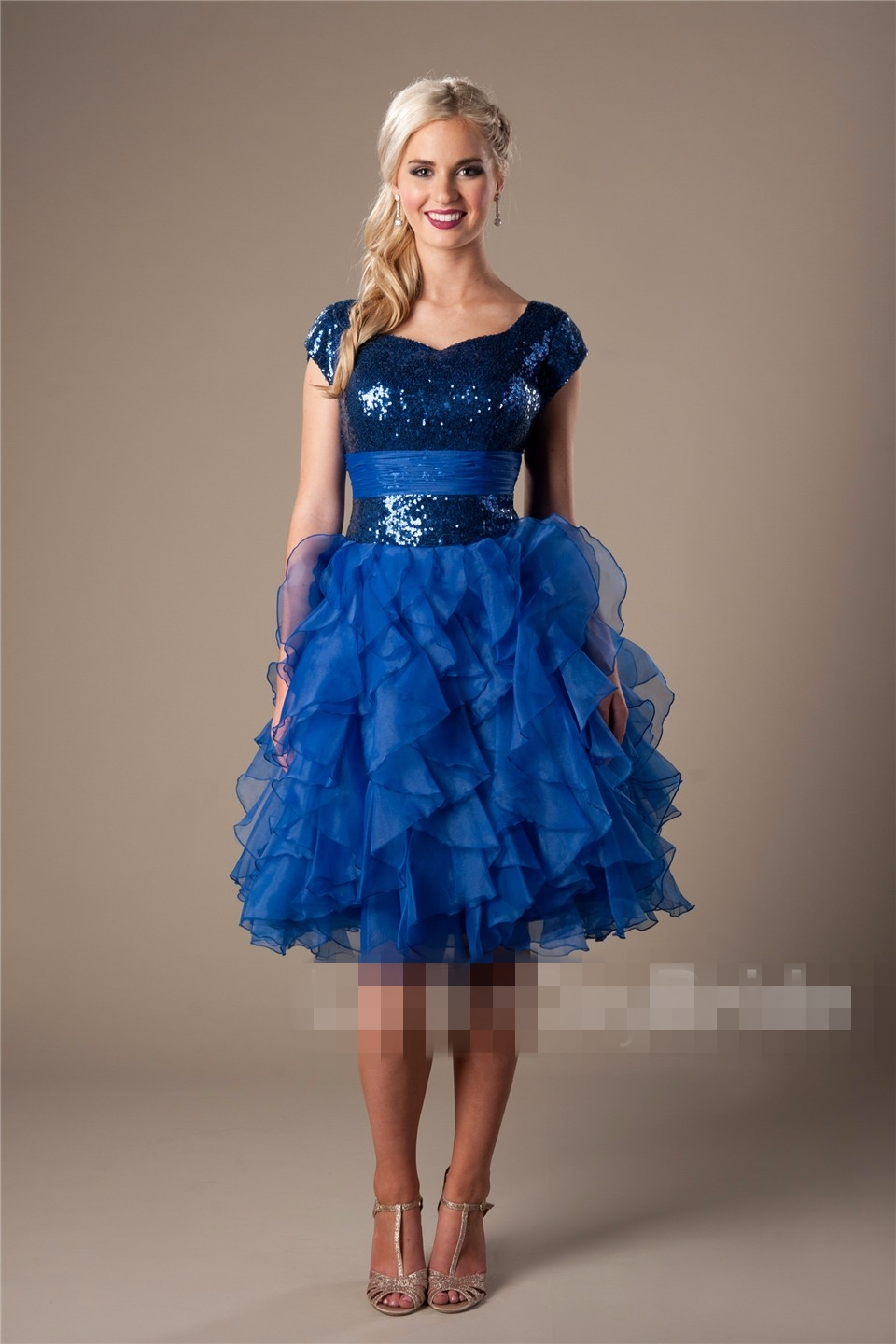 Royal Blue Modest Short Prom Dresses With Cap Sleeves